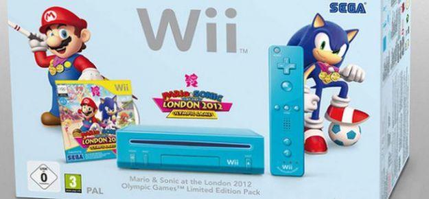 Una Nintendo Wii azzurra in bundle con Mario & Sonic alle Olimpiadi di Londra