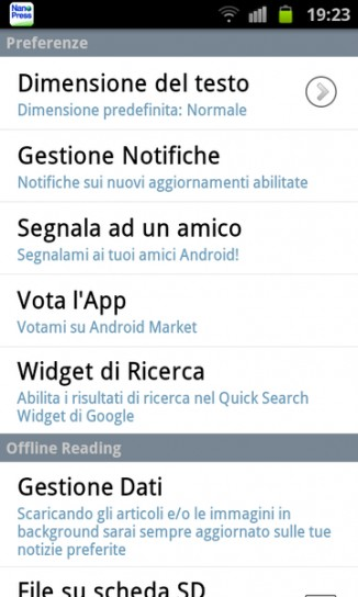App Nanopress per Android: preferenze