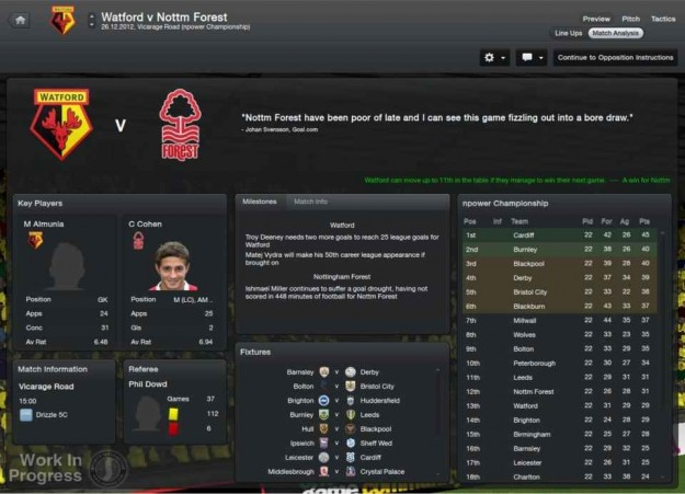 Football Manager 2013: opzioni