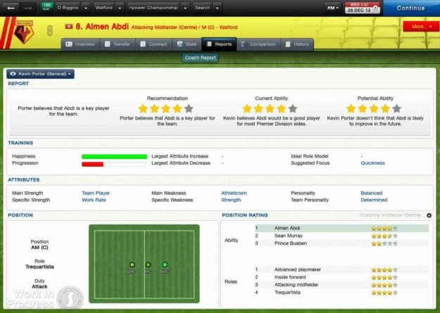 Football Manager 2013: interfaccia