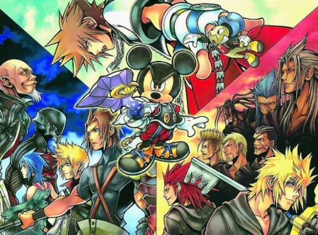 La saga Kingdom Hearts in un collage