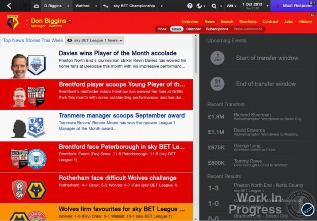 Notizie in Football Manager 2014