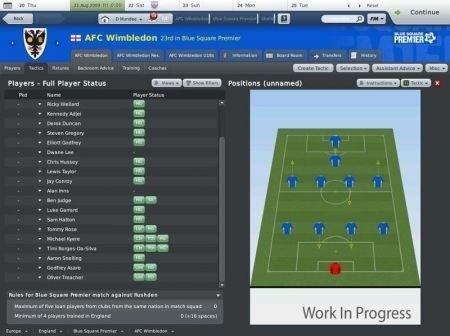 Football Manager 2010: formazione