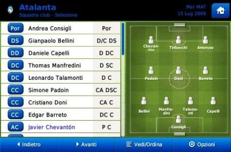 Football Manager 2010 iPhone: formazione