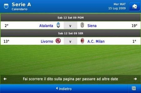 Football Manager 2010 iPhone: calendario