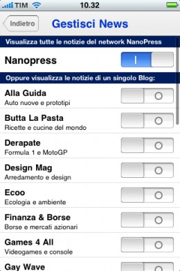 Nanopress iPhone: gestisci news