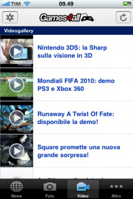 Games4all iPhone: videogallery