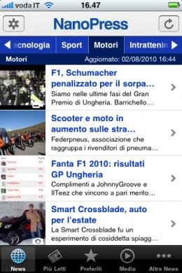 App Nanopress iPhone: nuova versione