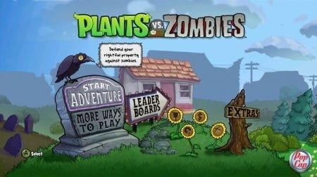 Plants vs Zombies Xbox Live: menu