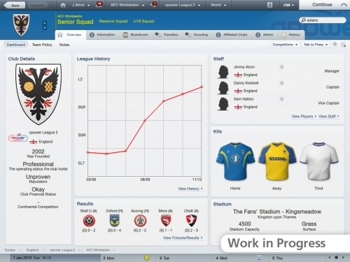 Football Manager 2012: interfaccia